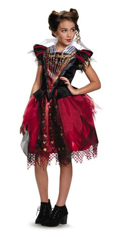 Tween Red Queen Alice Through the Looking Glass Costume - Can Alice with help from the Chronosphere can prevent you, the Red Queen, from tripping and colliding with the clock? This is an officially licensed Tween Red Queen costume, from the Alice Through the Looking Glass. It comes with beautiful velvet and satin dress with attached petticoat. Off with their head this Halloween or at your Alice in Wonderland party. #YYC #Calgary #costume #RedQueen