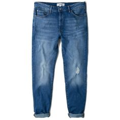 MANGO Girlfriend Lonny Jeans (804.465 IDR) ❤ liked on Polyvore featuring jeans, distressing jeans, ripped jeans, destroyed jeans, destructed jeans and zipper jeans