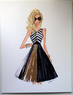 Fashion Illustration Proenza with Gold Leaf by anumt on Etsy, $50.00