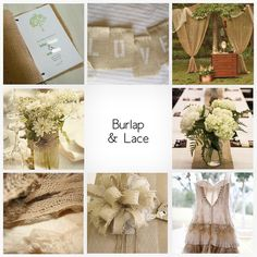 Lace is so pretty and delicate. The burlap helps to make it look a little bit for organic and casual.
