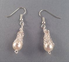 Pearls and Silver Viking Knit Earrings by Suzjewelry on Etsy