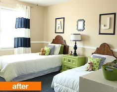 Love the layout for this. And the Initials above the beds. Before & After: A Baby Room Grows Up | Apartment Therapy