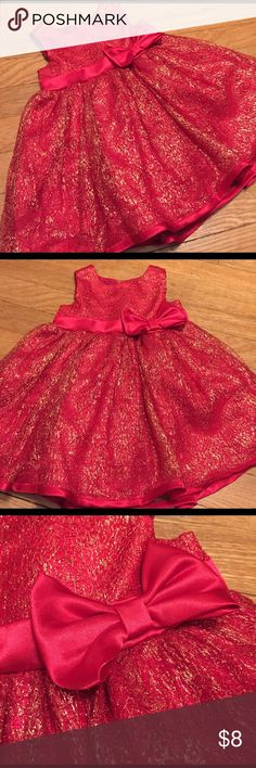 Sweet heart rose red and gold dress with bow This is a cute and beautiful dress from sweetheart rose red and gold with a wasted bow, ties and back and has button closures and back. See pictures for details. Good condition minor wear. Be sure and check out other items in closet and bundle to receive discounts. Sweet Heart Rose Dresses Formal