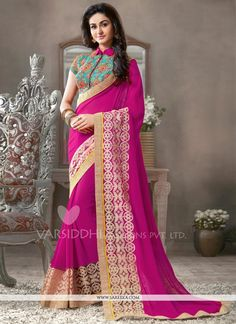 This delightful diva accoutre features unique styling and unusual material. This magenta georgette designer saree add the sense of elegant and glamorous. The brilliant attire creates a dramatic canvas...