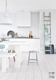 gorgeous herringbone tile and leaning ladder