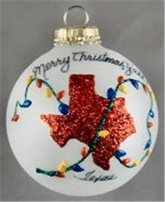 #Texans- Texas State with Christmas Lights Custom Ornament- Personalize for FREE & artist signed. Order now for Christmas #Treasurejourneys JUST $17.95 and free ship