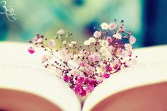 Look at that. The little posies tucked in the pages of a book look like a heart.