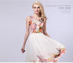 verano vestido maxi floral de la gasa de bohemia escote tobillo-longitud vestidos largos