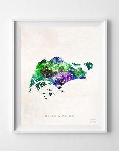 Singapore Watercolor Map Print