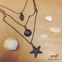 Dos mares da @loja_amei 🐚🌟❤️ #lojaamei #etiquetaamei #colar #muitoamor #novidades #mar #concha #estrela