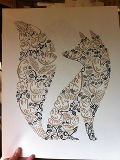Fox picture. Could cut a fox silhouette out of fabric and glue to a canvas