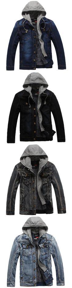2017 New Brand Winter Denim Jacket Men Fashion Thick Warm Detachable Hooded Men Vintage Parka Bomber Jeans Jacket Outwear Coat
