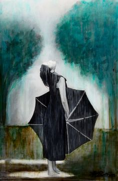 Petrichoria by Allison Rathan  United States, Painting acrylic....Lovely. I love umbrellas.