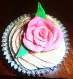 Fondant rose cupcake with buttercream swirl and lots of glitter