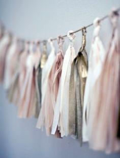82 Subtle Blush And Gold Wedding Ideas | HappyWedd.com Party Garland, Tassel Garland, Tassels, Ribbon Garland, Diy Garland, Ribbon Banner, Diy Ribbon, Blush And Gold, Black Gold