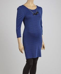 Look at this $17 Royal Blue & Black Embellished Maternity Dress!