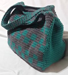 PATTERN: Crochet Tote Bag Pattern, Teal and Grey Tote, Large Tote, Checkerboard…
