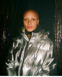Model wearing the Limited Edition Silver Bonded Padded Jacket. Fashion Killa, Fashion Models, Padded Jacket, Leather Jacket, Shave Her Head, Ivy Park, Family Affair, Event Photography, Give It To Me