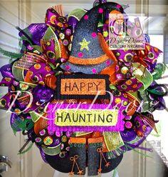 Happy Haunting Witch Halloween deco mesh Wreath by DzinerDoorz, $105.00