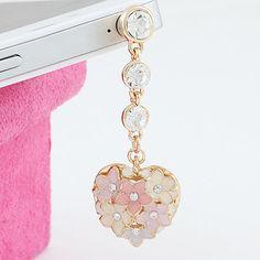 flowers heart IPhone 4/4s IPad Samsung Note II Dust Plug Headphone Plug Charm on Etsy, $7.99
