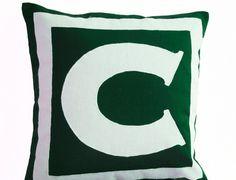 Personalized Monogram Green Pillow- Big letter pillow cover - Alphabet throw pillow- Customized cushion- Cotton pillow- Sofa pillow- 16x16