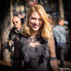 02b2ee7b8aa Lea Seydoux all smiles  leaseydoux genuine arriving at  miumiu fashion  show. Pic by