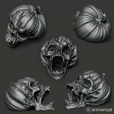 ArtStation - Evil Pumpkin Skulls, Arminas Didziokas Zombie Halloween Decorations, Halloween Ideas, Evil Pumpkin, Zbrush, Skulls, Sculpting, Scary, 3d Printing, Lion Sculpture