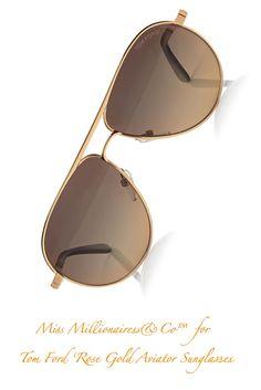 Tom Ford 'Rose Gold Aviator Sunglasses'