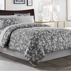product image for Fara 6-8 Piece Comforter Set in Charcoal/Ivory