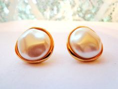 Vintage Monet gold and white pierced earrings by susbr on Etsy
