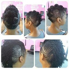 Tiny cornrow/mohawk style/updo on natural hair.