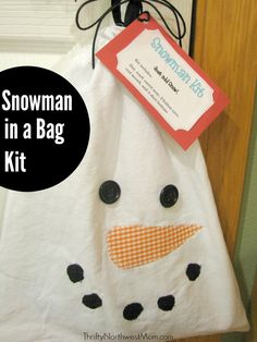 Here's a frugal & simple homemade gift idea for a neighbor, friend or hostess gift - Snowman in a Bag Kit! They'll be all set for the next Snowfall with this cute little kit! Includes recipe for Snowman Soup & Poem too!