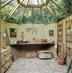 Publication: House & GardenImage Type: PhotographDate: April A garden shed designed by Bunny Mellon for Kenneth Battelle. Painted Garden Sheds, Garden Shed Interiors, Interior Garden, Yurt Interior, Cottage Garden Sheds, Greenhouse Interiors, Airstream Interior, Interior Doors, Interior Architecture