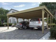 Carport double W609 - toit plat en PVC - taille 2