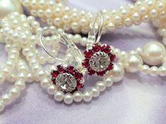 Swarovski Red Flower Earrings, 8mm, Petite, Lever Backs, Drops, Dangles,bridal, Great Gift, DKSJewelrydesigns