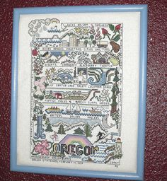 Completed Framed Oregon State Sampler Cross Stitch on Aida 15 X 12 Well Stitched from the columbia and crater lake to the beach and the wild flowers.  This sampler covers them all.