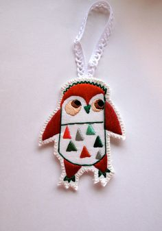 Christmas owl ornament hand embroidered by AnAstridEndeavor @SFetsy Team