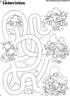 Mazes For Kids, Indoor Activities For Kids, Worksheets For Kids, Animal Coloring Pages, Colouring Pages, Kindergarten, Traditional Stories, Printable Numbers, Three Little Pigs