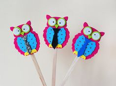 Boy party toppers.Owl toppers.Baby shower by Objeshop on Etsy
