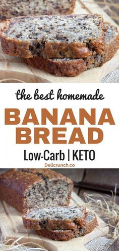 Easy and healthy banana bread recipe. Low carb and keto-friendly bread using banana, also called almond flour or coconut banana bread. Just the best and super moist! Good for snack or breakfast. Banana Bread Low Carb, Coconut Flour Banana Bread, Best Low Carb Bread, Homemade Banana Bread, Lowest Carb Bread Recipe, Almond Flour Recipes, Banana Bread Recipes, Coconut Oil, Banana Nut