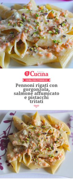 Pasta con gorgonzola, salmone affumicato e pistacchi tritati Рецепты итальянской кухин Wine Recipes, Pasta Recipes, Cooking Recipes, Sauce Gorgonzola, Pasta Penne, Rigatoni, Healthy Salmon Recipes, Salty Foods, I Love Food