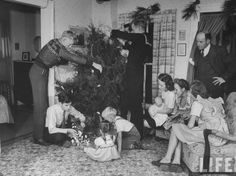 Vintage Christmas Photograph ~ Members of James Ferdinand Irwin's family trimming the Christmas Tree. ~ Neosho Rapids, KS 1945