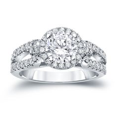 Auriya 14k Gold 1ct TDW Round Cut Diamond Halo Engagement Ring (H-I, SI1-SI2) (White Gold - Size 7.5), Women's