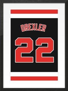 7fc0790086b0 Clyde Drexler Number 22 Portland Trailblazers Jersey Art Print. Take a look  at our Etsy