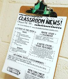 I've gotten many requests for a printer friendly Classroom Newsletter! I have one in my store! This version looks great in color AND in black and white. The Classroom Newsletter BRIGHT Stripes theme is the version I use in my classroom weekly. I print o Teacher Organization, Teacher Tools, Teacher Hacks, Teacher Resources, Teacher Stuff, Organised Teacher, Teaching Ideas, Organizing, Teacher Planner