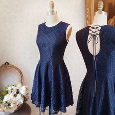 Narimane #Boutique1861 / A navy dress with a simple open-back proves a good taste ! #promdresses #bridesmaids