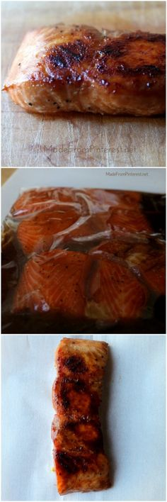 This marinated Salmon baked in a foil packet for 15 min stayed tender, and caramelized beautifully on the bottom. Makes an easy, elegant meal.