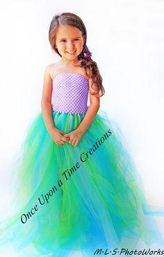 The Little Mermaid Inspired Princess Tutu Dress - Halloween Costume - 12M 18M 2T 3T 4T 5T - Disney Ariel Under the Sea Inspired