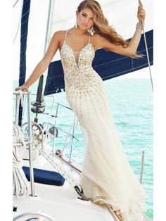Charming Sheath/Column Spaghetti Straps Beadings Floor Length Chiffon Evening Dress