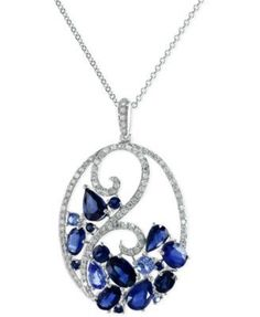 Sapphire (3-3/4 ct. t.w.) and Diamond (1/3 ct. t.w.) Pendant Necklace 14k White Gold